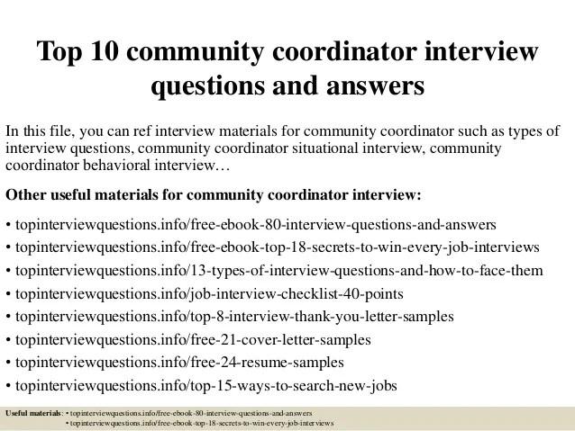 coordinator interview questions
