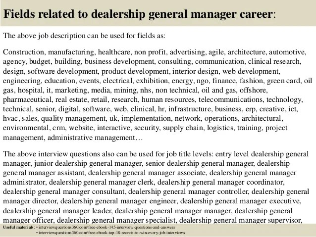 Top 10 Dealership General Manager Interview Questions And Answers