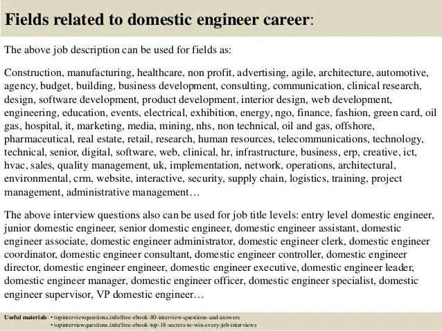 Domestic Engineer Resume chief engineer resume examples