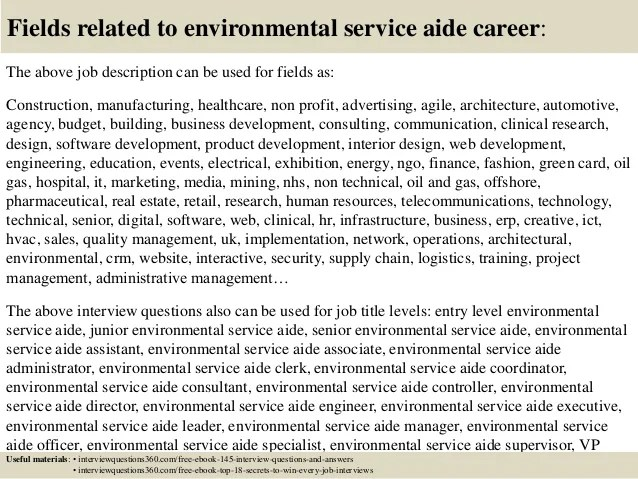 environmental aide job description - Ozilalmanoof - environmental service aide sample resume