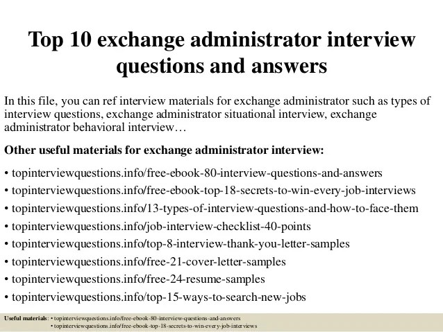 Sample Exchange Administrator Cover Letter - Baskanidaisample - exchange administrator sample resume