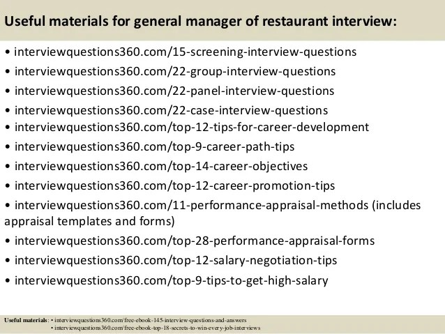 Interview Questions For Restaurant madebyrichard - Restaurant Interview Questions