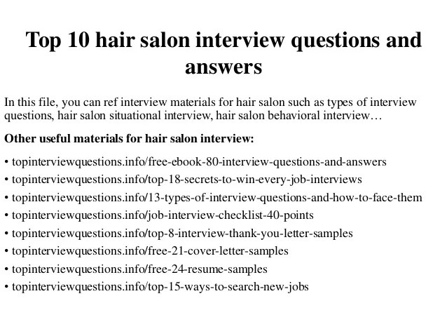 Resume Quiz For Students Career Cruising English Home Top 10 Hair Salon Interview Questions And Answers