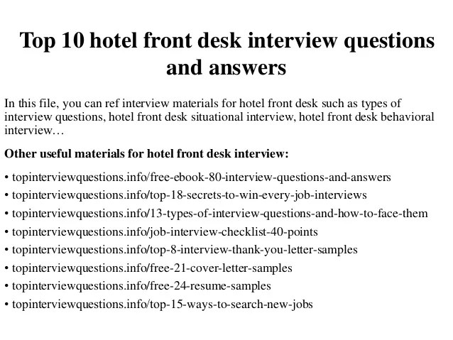 A Questionnaire Checklist Important Things To Check Top 10 Hotel Front Desk Interview Questions And Answers