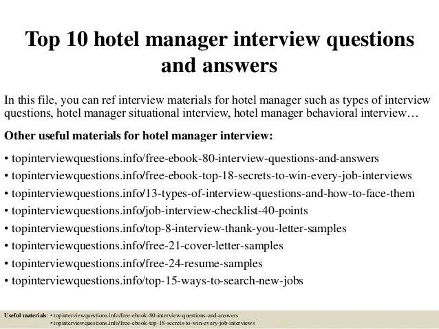 hospitality management interview questions and answers - Acur