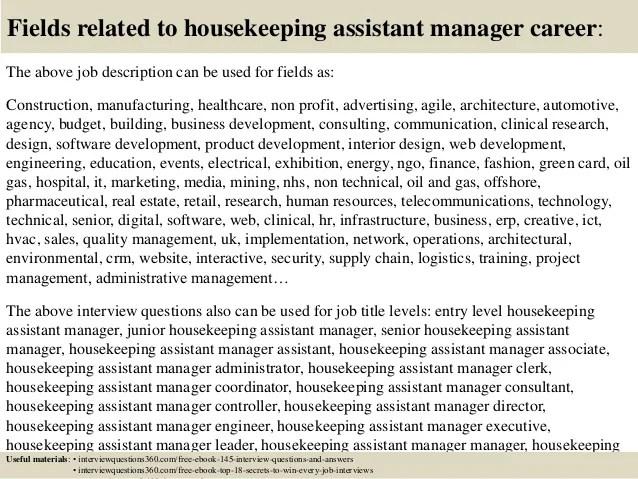 housekeeping manager job description - Bire1andwap - housekeeping job description