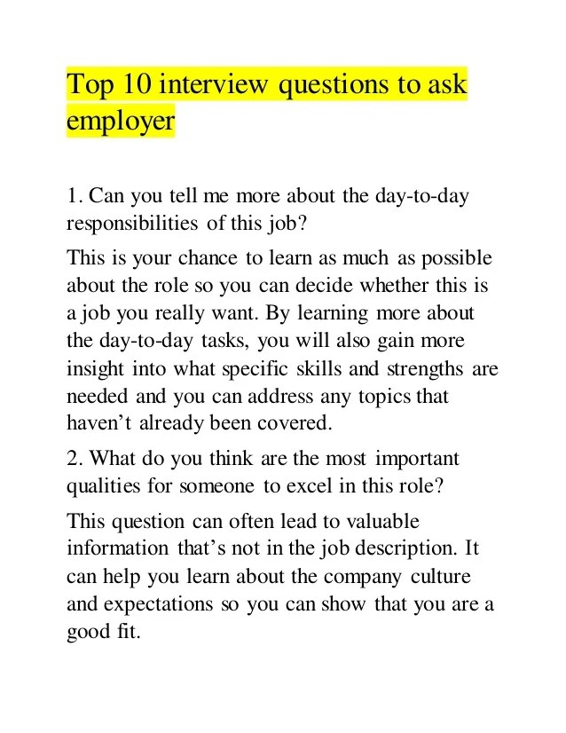 interview questions to ask employers - Leonescapers