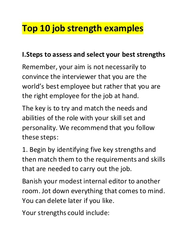 job strengths and weaknesses examples