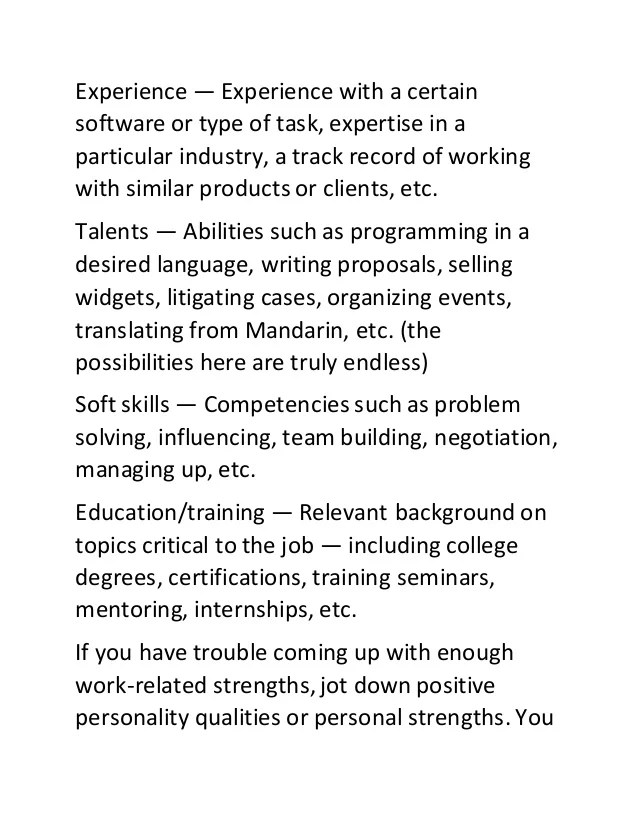 Career Strengths Examples ophion - career strengths examples