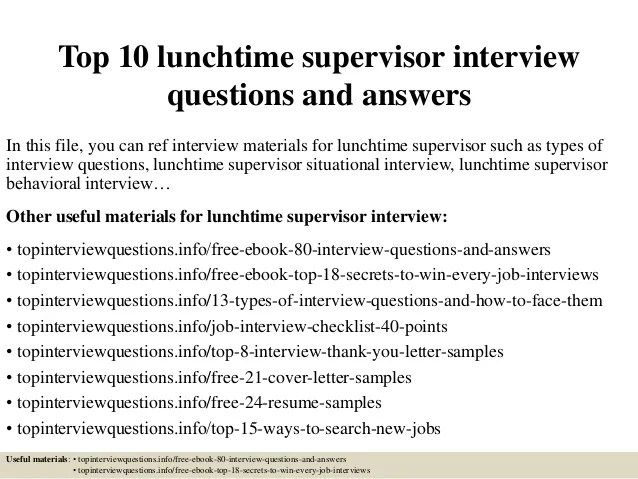 supervisor interview questions and answers examples