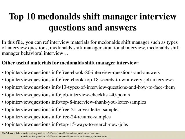 mcdonalds manager resumes