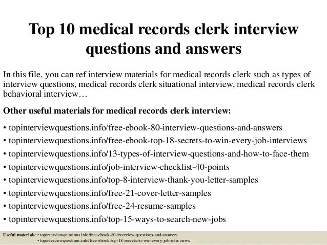 medical records clerk cover letters - Minimfagency