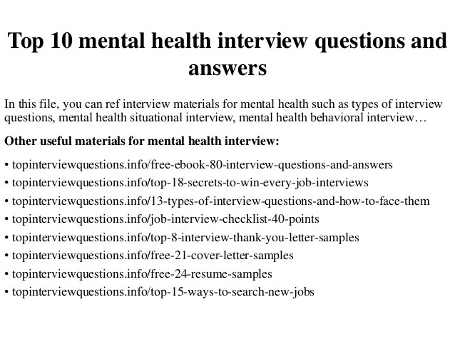 Job Opportunities Public Service In Paradise Top 10 Mental Health Interview Questions And Answers