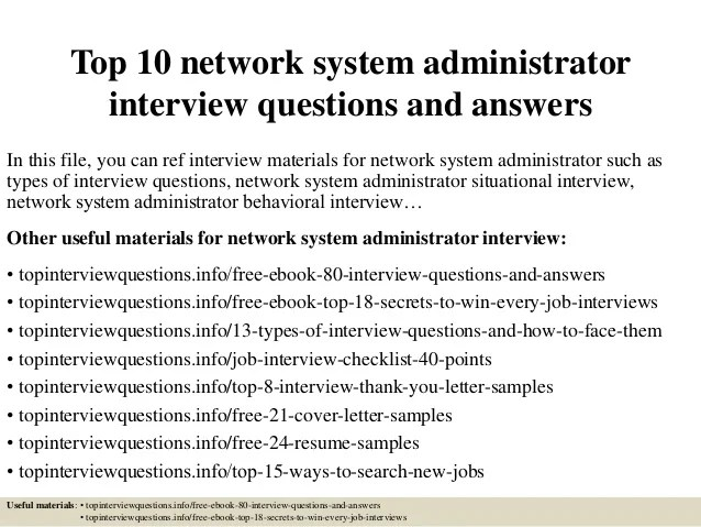 interview questions for network administrator