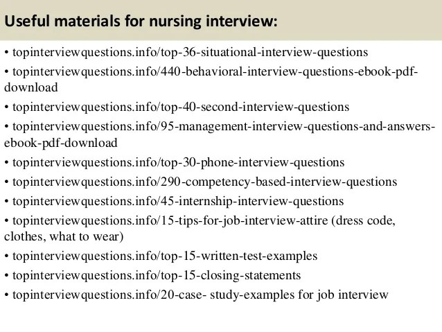 nursing situational interview questions and answers