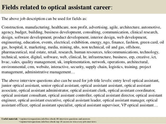optical assistant cover letters - Antaexpocoaching - optician assistant sample resume