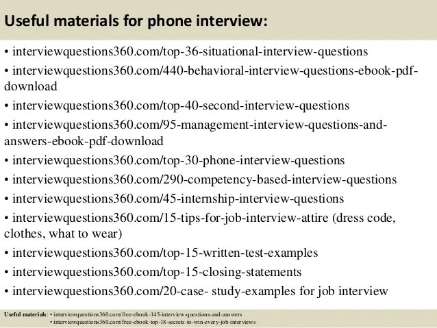 phone interview questions and answers - Yelommyphonecompany