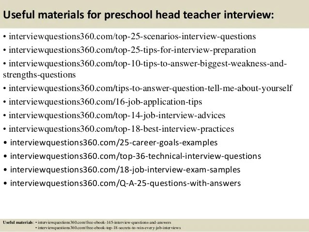 preschool teacher interview