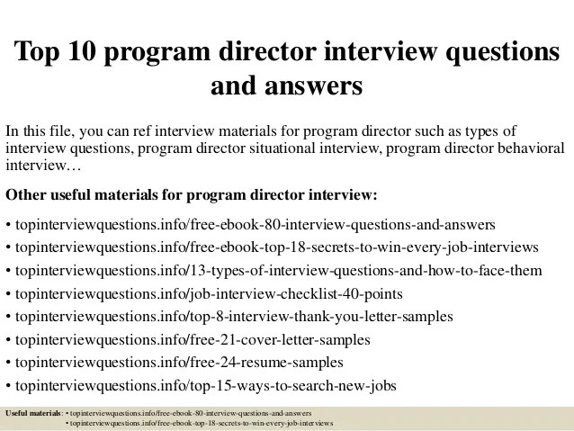 Skills For Food Service Resume Top 10 Program Director Interview Questions And Answers