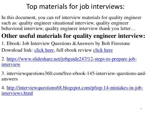 quality engineer interview questions - Kenicandlecomfortzone