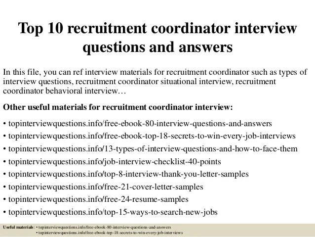 recruiting coordinator interview questions radiovkm