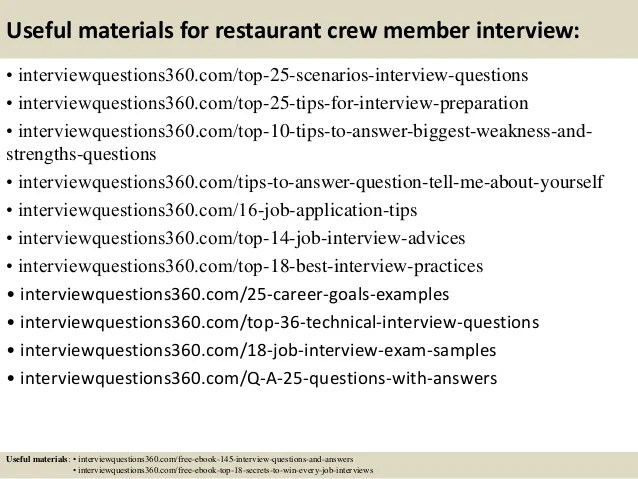 interview questions in restaurant - Ozilalmanoof