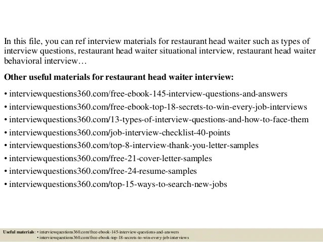 interview questions for restaurant - Boatjeremyeaton - Restaurant Interview Questions