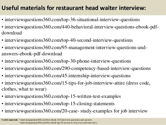interview questions for restaurant servers - Ozilalmanoof - interview questions for servers