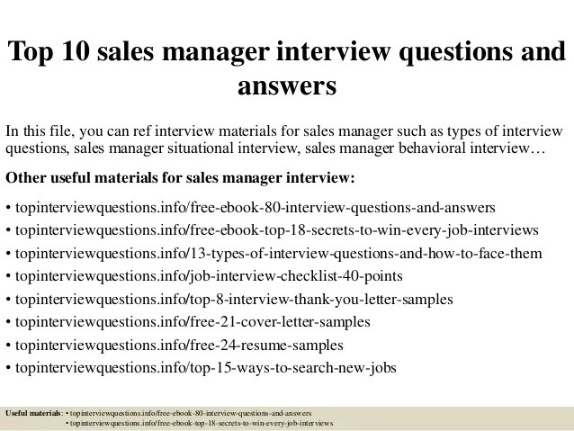 sales manager interview questions - Minimfagency