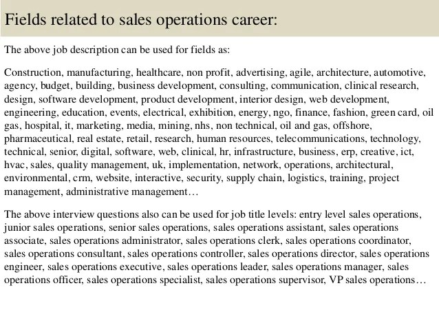 sales operations job description - Goalgoodwinmetals