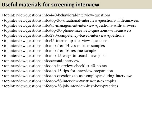 pre screening interview questions and answers - Vatozatozdevelopment