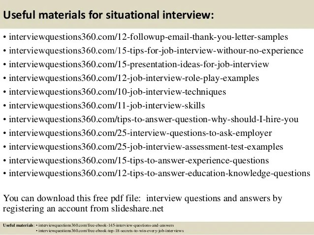 interview situational questions and answers - Onwebioinnovate