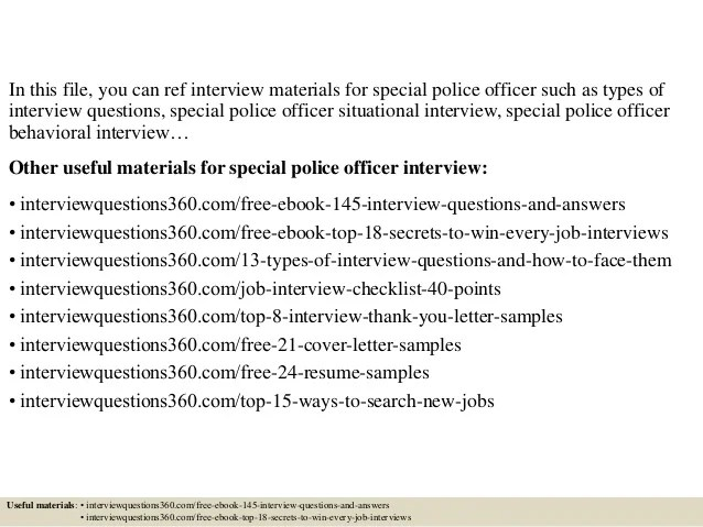 police officer sample interview questions - Onwebioinnovate - special police officer sample resume