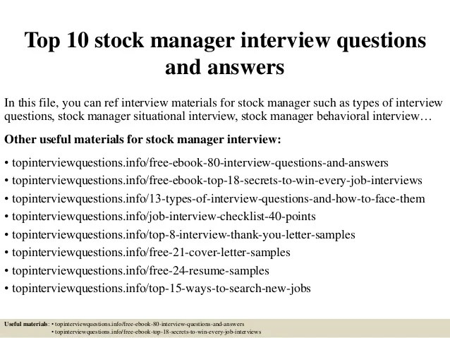 stock manager job description - Akbagreenw - Stock Job Description