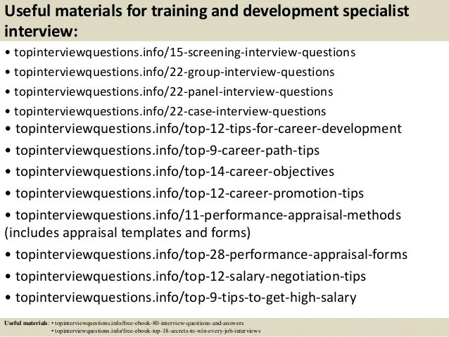 download training development specialist resume sample as image file