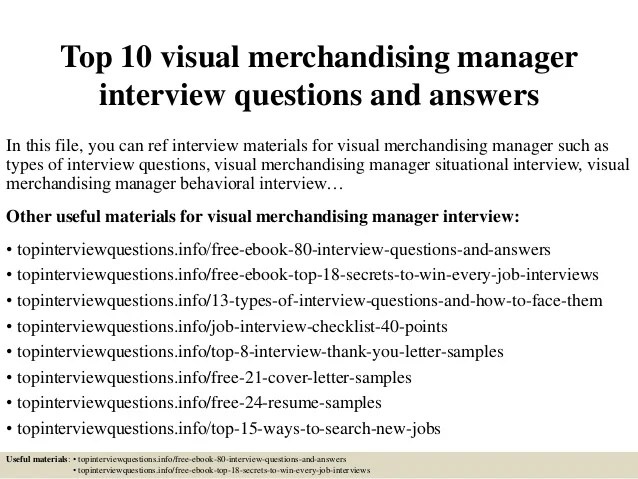 Marketing Segmentation Decision Analyst Top 10 Visual Merchandising Manager Interview Questions