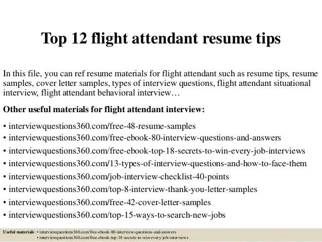 flight attendant sample resumes