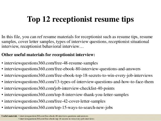 Medical Receptionist Resume Job Interviews