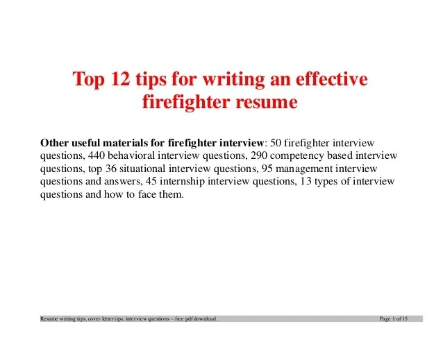 Your Premiere Resume Service Careerperfect Top 12 Tips For Writing An Effective Firefighter Resume