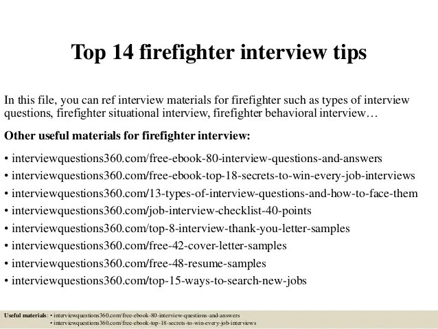 top firefighter interview questions