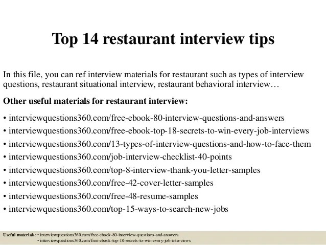 common restaurant interview questions - Funfpandroid
