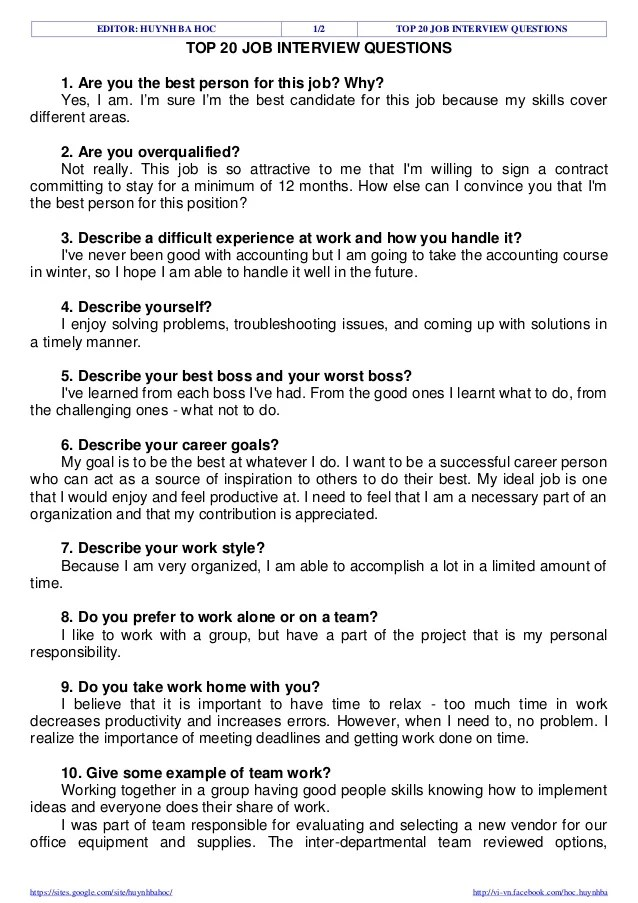 5 Common Education Interview Questions 15 Popular Interview Questions Answered Teaching Top 20 Job Interview Questions