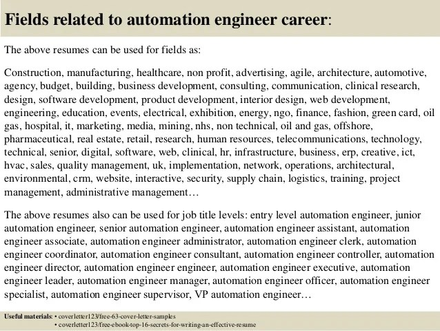 resume of automation engineer - Funfpandroid - senior automation engineer sample resume