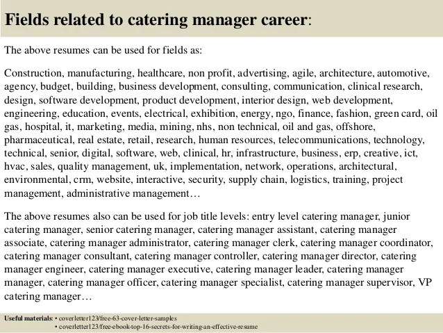 Marketing Manager Cover Letter Sample Top 5 Catering Manager Cover Letter Samples