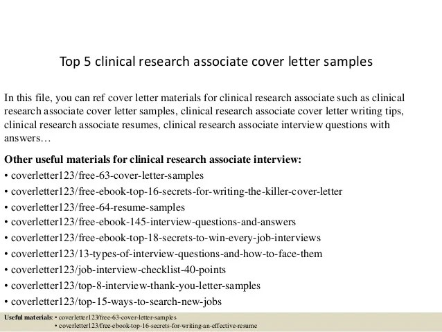 cover letter for clinical research associate - Boatjeremyeaton