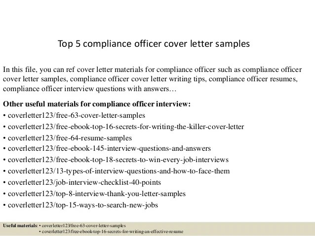 Compliance Officer Cover Letters