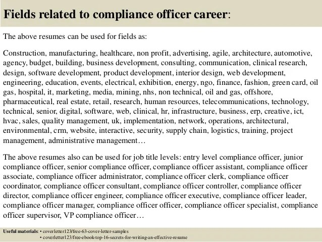 compliance specialist cover letter - Josemulinohouse - healthcare compliance officer sample resume
