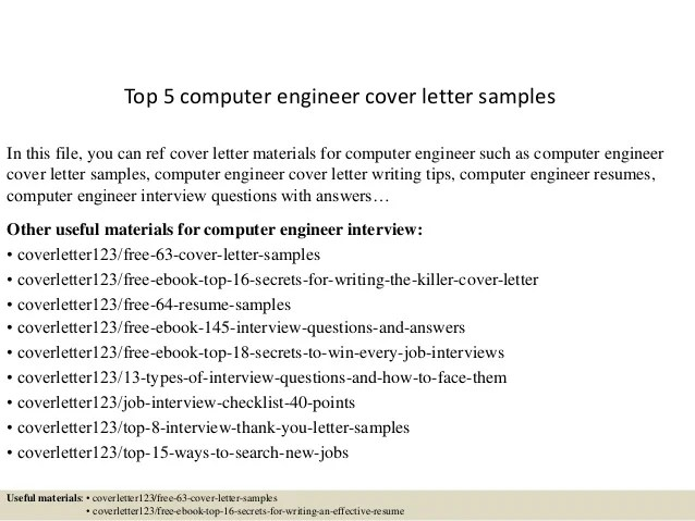cover letter sample for computer engineer - Holaklonec