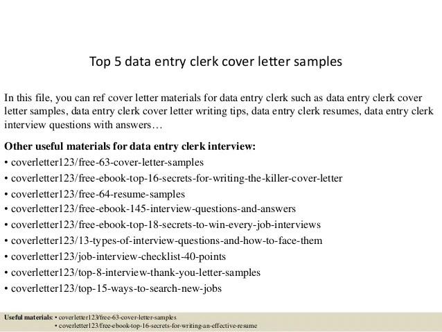 Customer Service Manager Cover Letter Job Interviews Top 5 Data Entry Clerk Cover Letter Samples