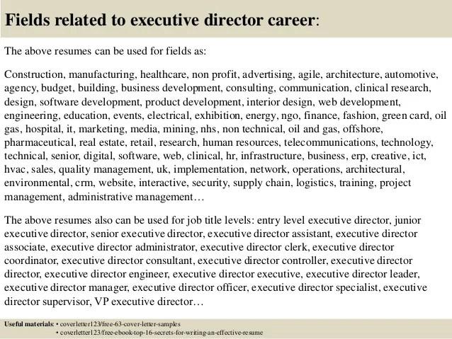 non profit executive director resumes